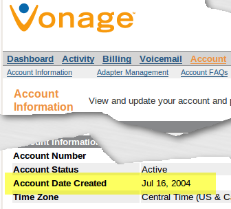 Vonage Customer Since 2004